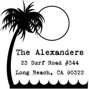 Surf Wood Mounted Address Stamp