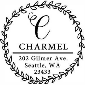 Charmel Wood Mounted Address Stamp