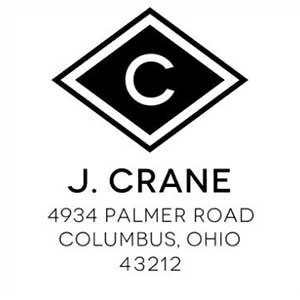 Crane Wood Mounted Address Stamp