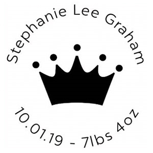 Stephanie Wood Mounted Birth Announcement Stamp